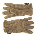 Wholesale ladies fleece cable knit effect gloves in green