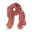 Wholesale ladies gabby red check and frilly lightweight scarf