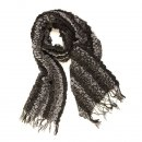 Wholesale ladies milly stripe ruched black lightweight scarf