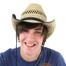 Wholesale adults straw cowboy hat with shapeable brim on model