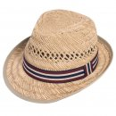 Wholesale mens straw trilby hat with blue and brown striped ribbon band