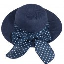 Bulk ladies blue straw wide brim hat with spot band and bow