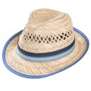 Wholesale mens straw trilby with blue striped band