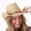 Wholesale straw cowboy with inside elastic in beige on model