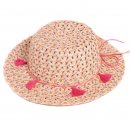 Wholesale girls straw wide brim hat with tassel band and patterned brim