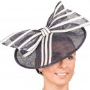 Wholesale fascinator developed from sinamay and featuring a bow and disc