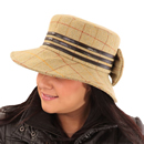Wholesale wide brim hat with bow in light tweed on model