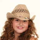 Wholesale girls straw cowboy hat with ornate beads on model