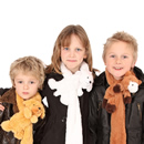 Wholesale childrens super soft animal scarves on models