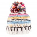 Bulk ladies chunky knit patterned bobble hat with fleece lining in grey
