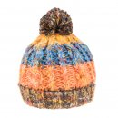Wholesale adults chunky bobble hat with fleece lining and multi striped patterning