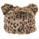 Wholesale adults faux fur ski hat with fur pom pom ears in brown animal print