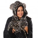 Wholesale adults faux fur grey animal print hood featuring ears and pockets