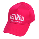 Wholesale baseball cap with novelty 'retired' slogan in green