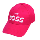Wholesale baseball cap with novelty 'the boss' slogan in red
