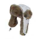 Wholesale white padded trapper with fur trim