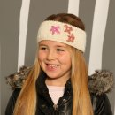 Girls knitted headband with detail on model