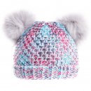 Wholesale girls double pom-pom hat in grey and multi coloured design