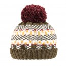 Wholesale boys pattern knitted bobble hat with fleece lining developed from acrylic