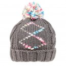Wholesale girls grey chunky diamond print knitted bobble hat
