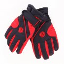 Wholesale ski gloves for children with red and black colour scheme