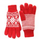 Adults wholesale fleece lined knitted gloves with red wintry design