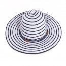 Wholesale ladies wide brim blue striped straw hat