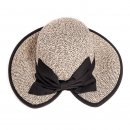 Bulk ladies grey straw wide brim hat with large bow