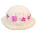 Wholesale girls white straw hat with flower and sequin