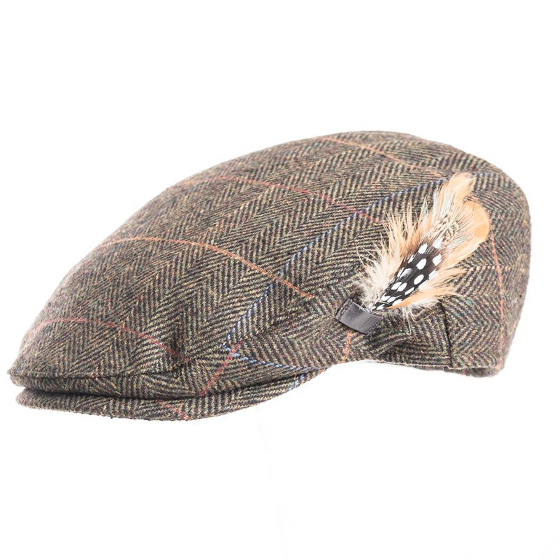 AE44 - MENS TWEED FLAT CAP WITH FEATHER TRIM ON SIDE 670d34e2f7a