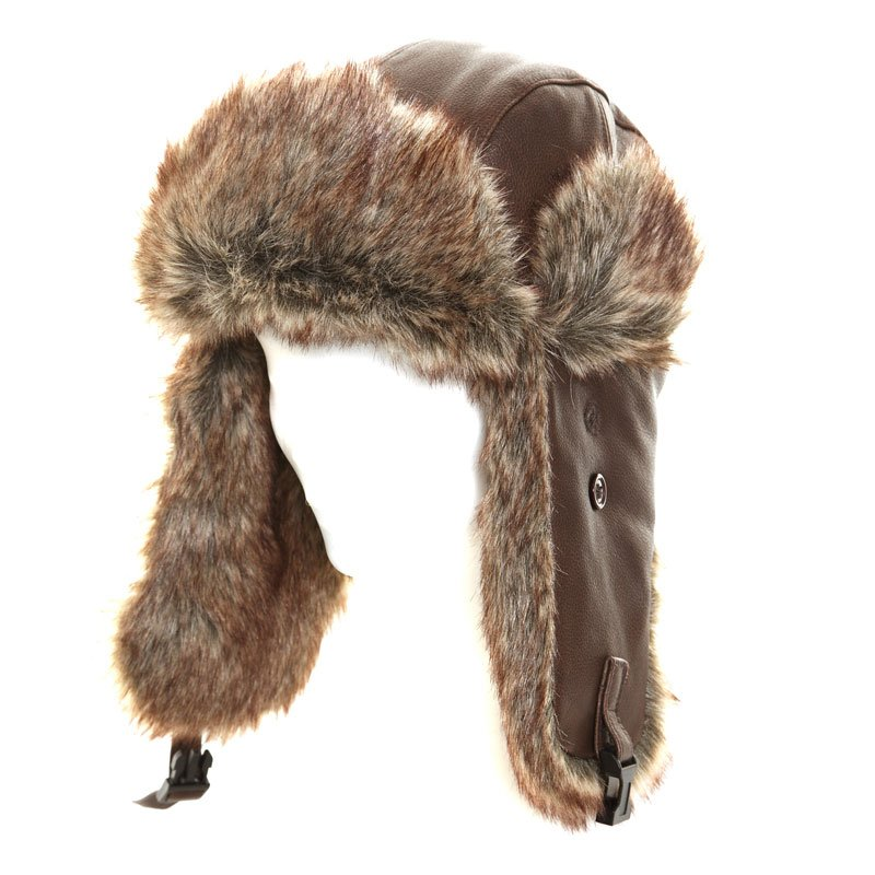 c99d82b846b aw117 - real leather brown trapper hat. Overview  Delivery  Returns. Hawkins  Polar Expo brown leather trapper hat with faux fur trim