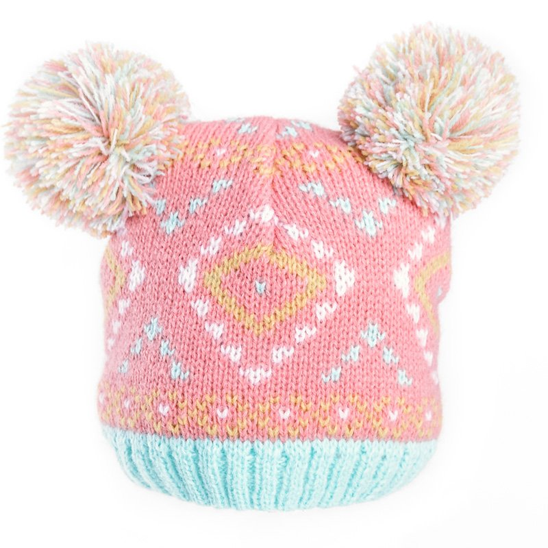 1301851a5 Wholesale ski hats-B290-Baby girls knit pom-pom hat