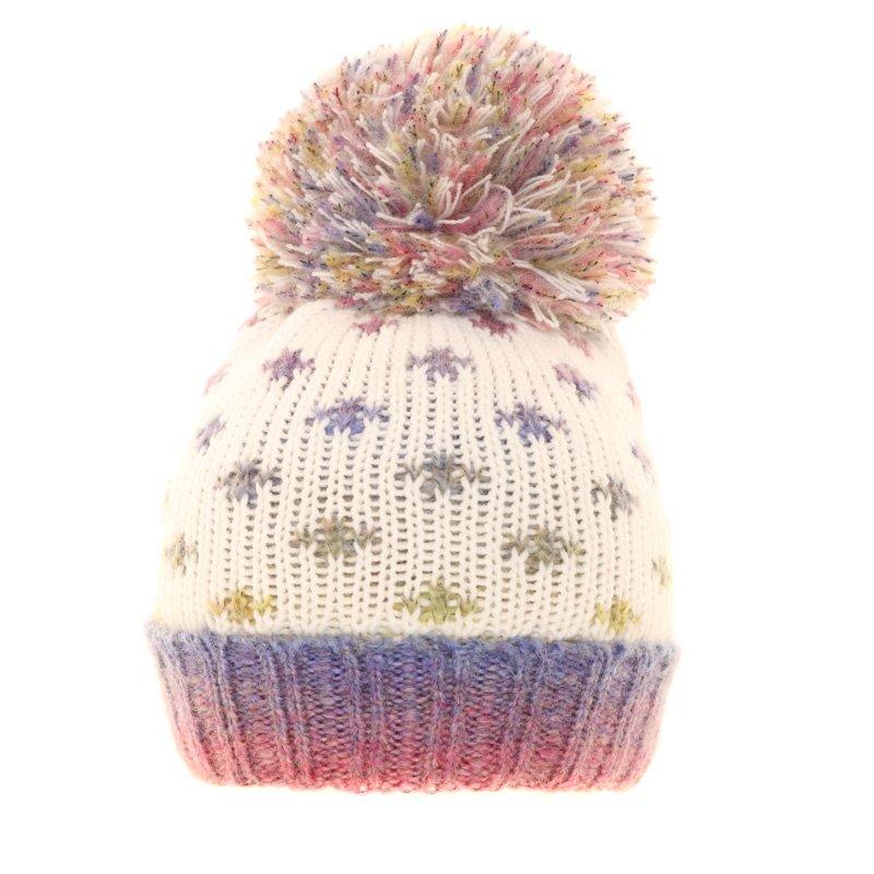 b1dece90b69 C533 - Girls Spotty Knitted Hat With Large Pom-Pom