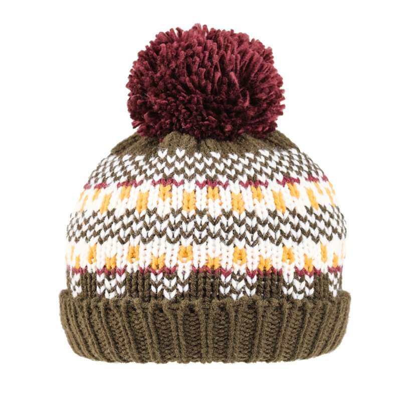 C630-Boys pattern knitted bobble hat with fleece lining ...