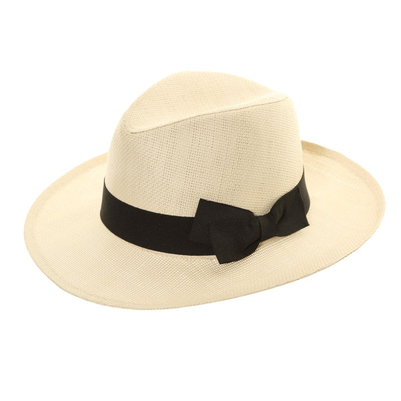 S223-Ladies straw fedora with black band and bow b7ed1070962