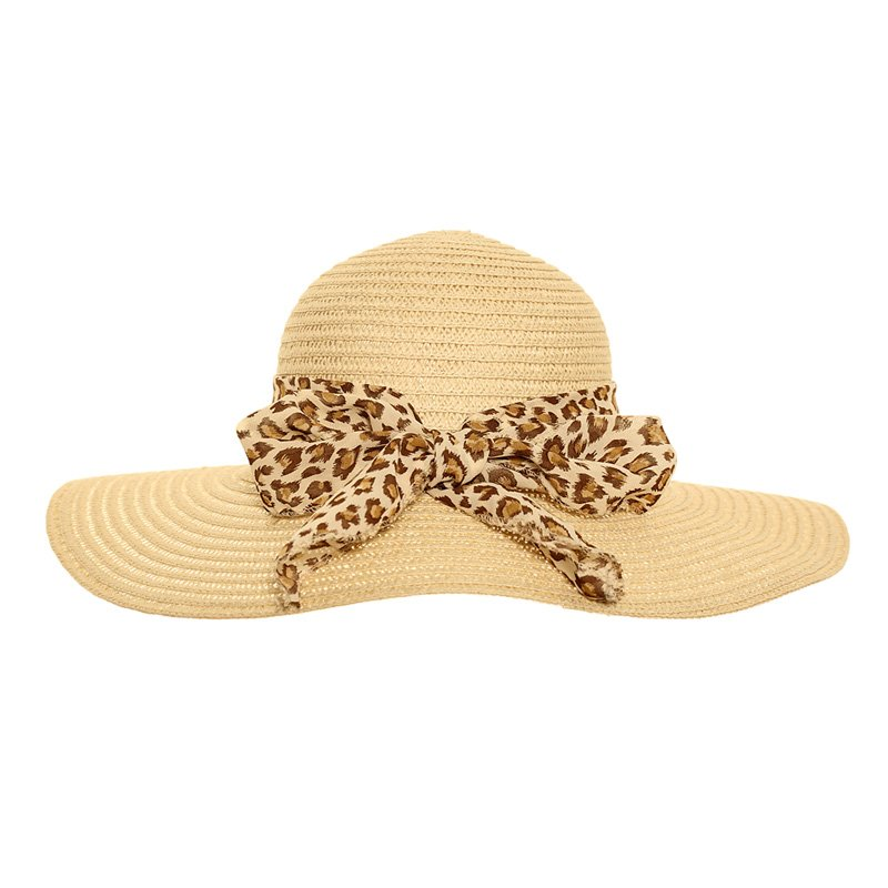 s246 womens straw wide brim hat with animal print scarf